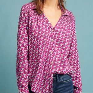 Anthropologie Maeve Geometric Print Blouse